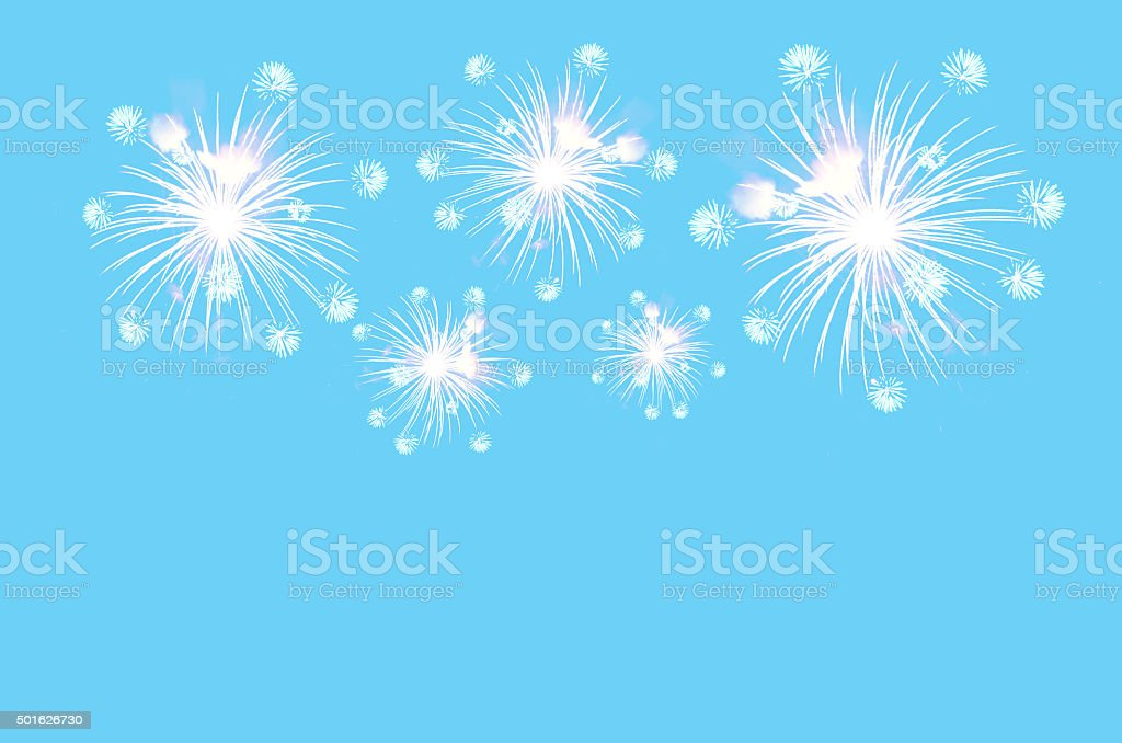 Fireworks celebration on pastel cyan color background. stock photo