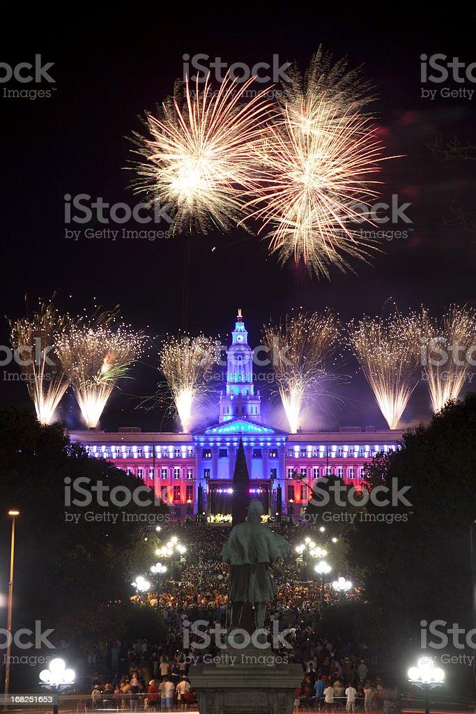 Fireworks celebration over Civic Center Park Denver Colorado stock photo
