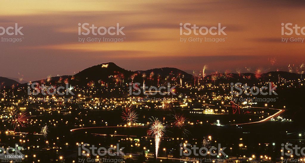 Fireworks Chaos in Butte, Montana stock photo