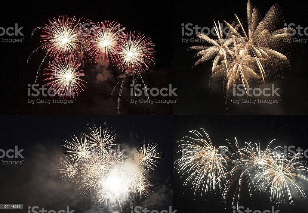 Fireworks collage stock photo