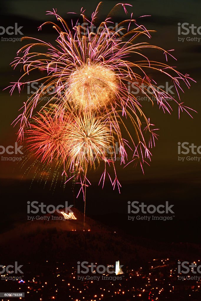 Fireworks Display - 4th of July in Butte, Montana stock photo