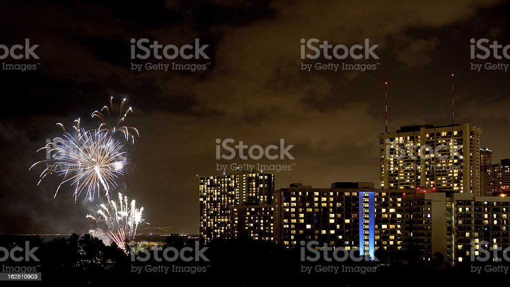 Fireworks display at Waikiki Honolulu HI royalty-free stock photo