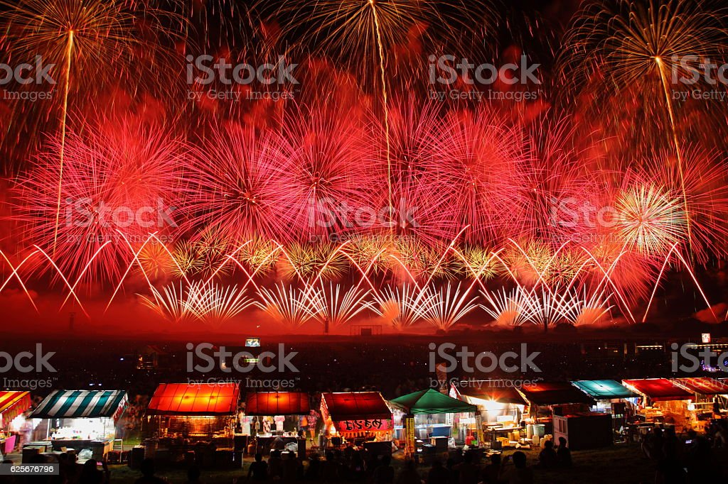 Fireworks Display Festival in Sakata, Yamagata, Japan stock photo