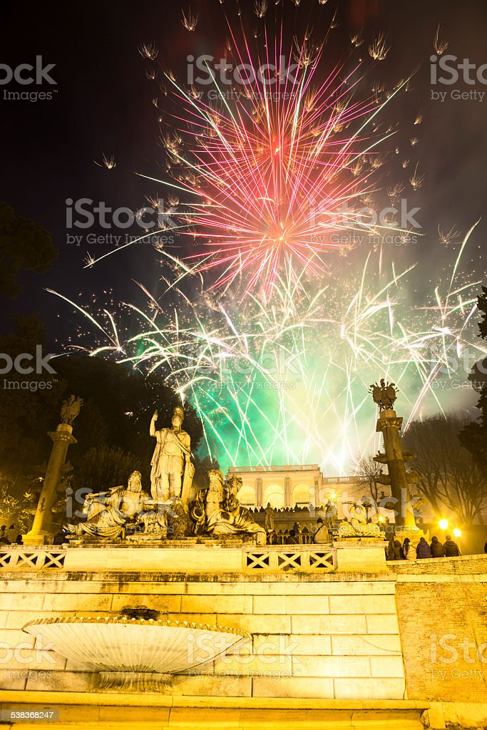Fireworks display from Montepincio in Rome, Italy stock photo
