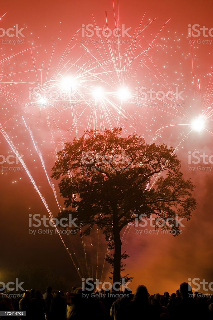 Fireworks Display in red royalty-free stock photo