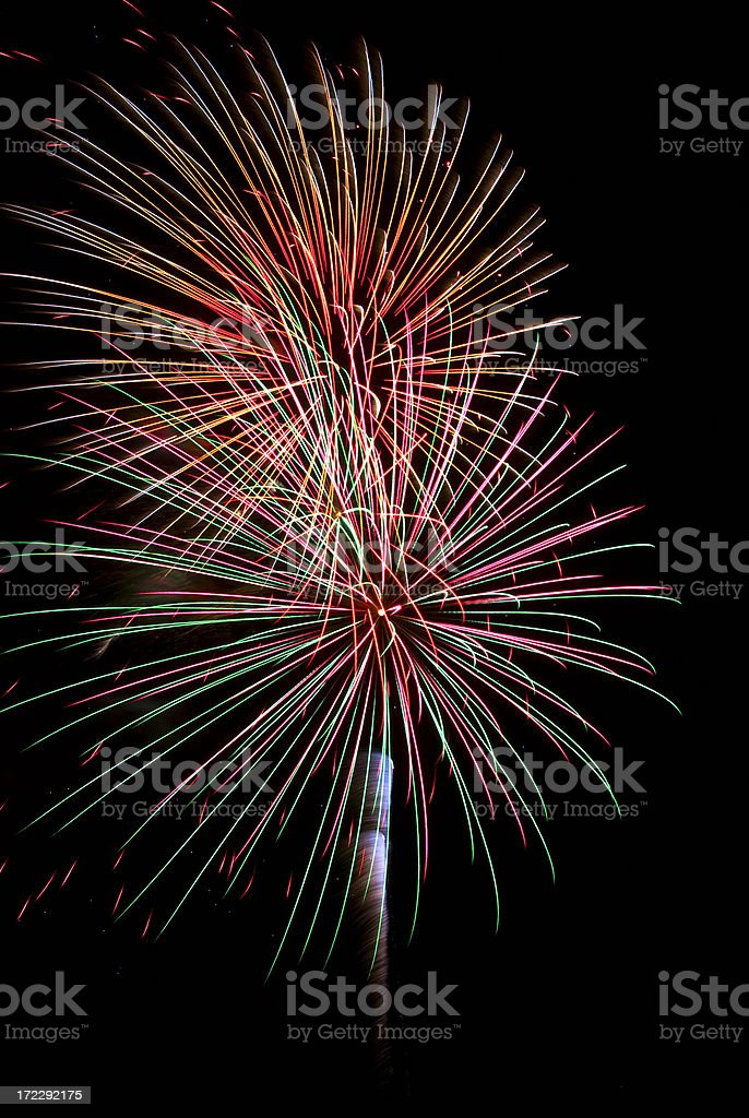 Fireworks Display Isolated against a Black Nightime Sky royalty-free stock photo