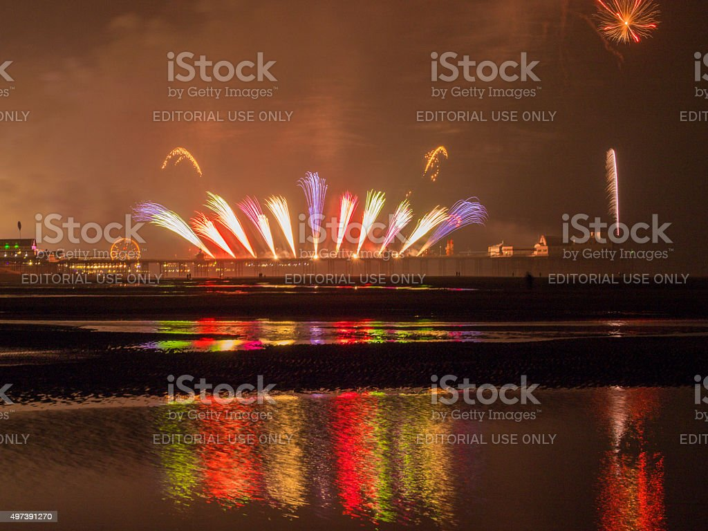 Fireworks display North Pier, Blackpool, Lancashire, Uk stock photo