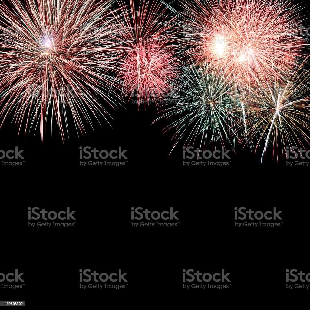 Fireworks display on a clear night  stock photo