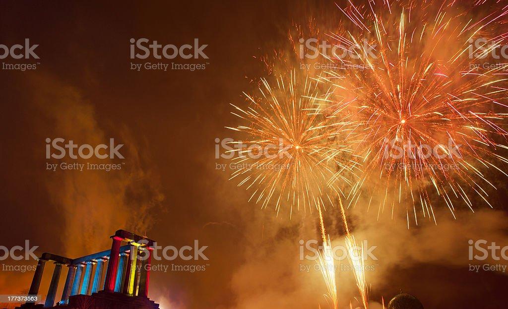 Fireworks display on Calton Hill, Edinburgh, Scotland stock photo
