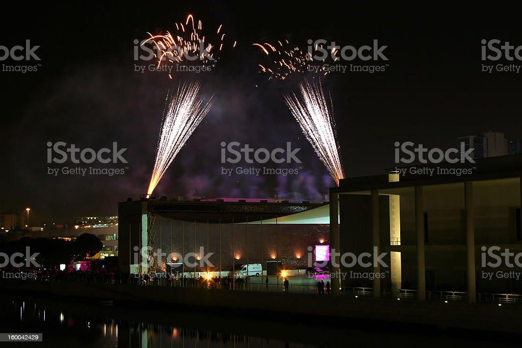 fireworks display on the portuguese pavillion at lisbon royalty-free stock photo