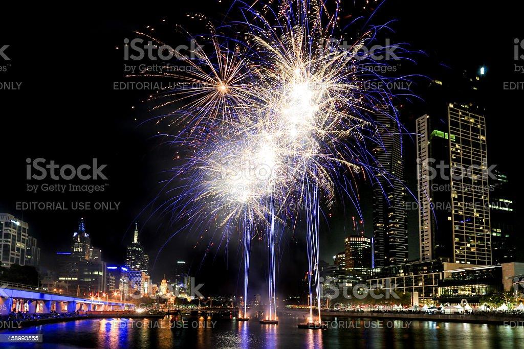 Fireworks downtown Melbourne, Australia stock photo