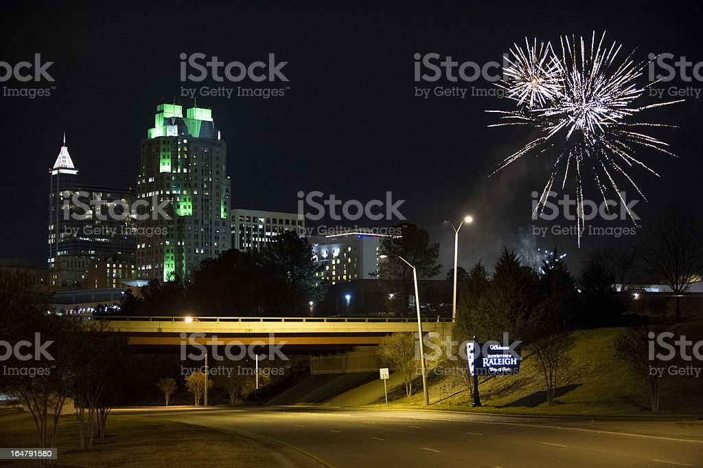 Fireworks Explode Over Dowtown Raleigh, North Carolina stock photo
