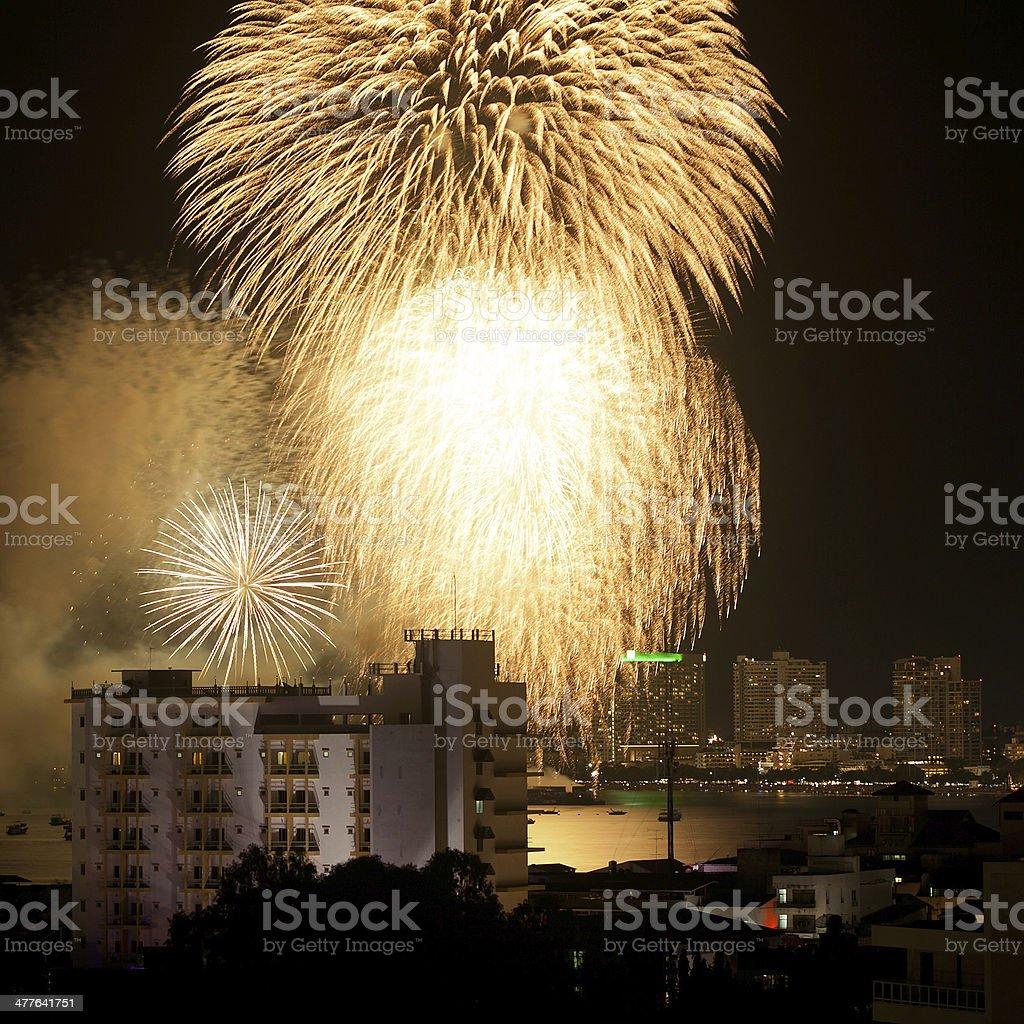 Fireworks Exploding at Pattaya, Thailand stock photo