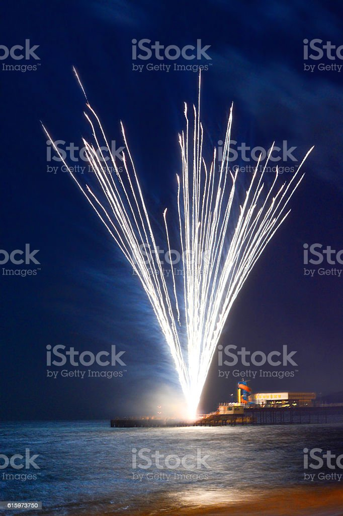 Fireworks Exploding at the Pier stock photo