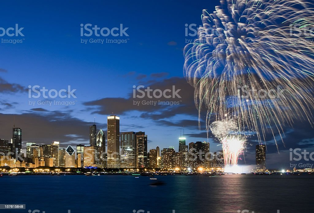 Fireworks exploding over Chicago waterfront stock photo