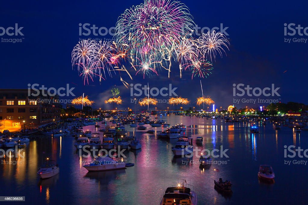 Fireworks Explosion over Water stock photo