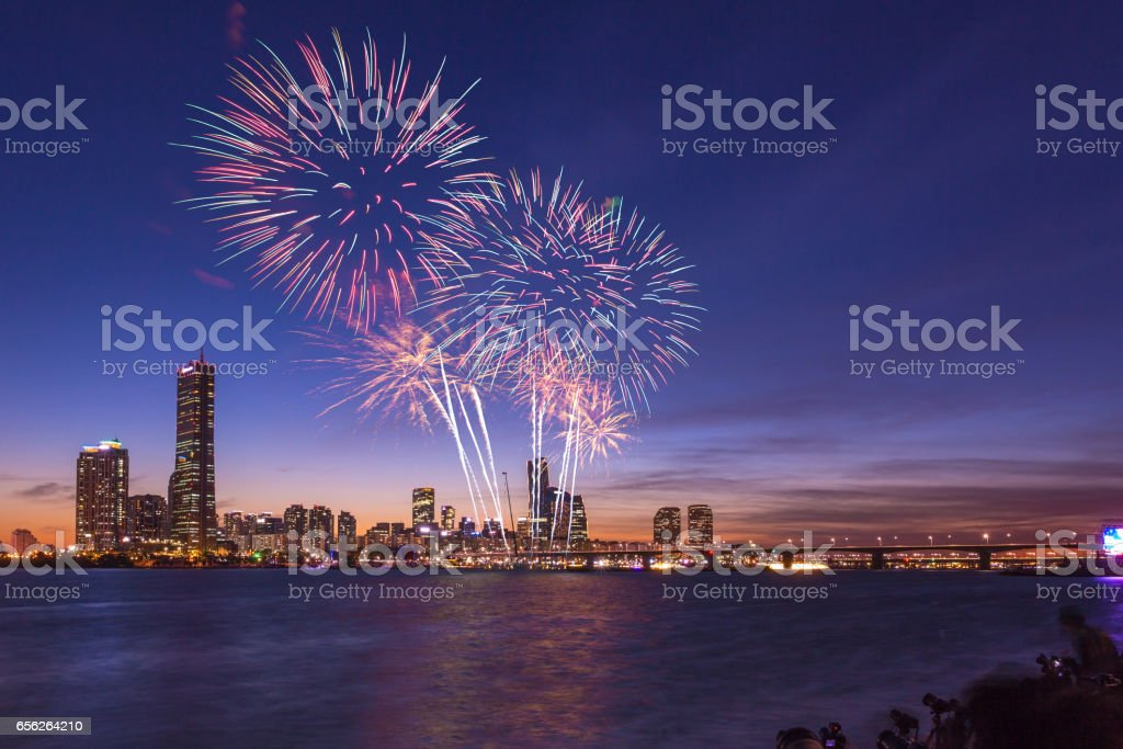 Fireworks Festival in Seoul city, South Korea. stock photo