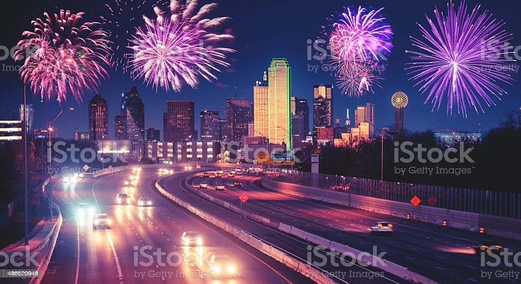 fireworks for a national holiday in Dallas stock photo