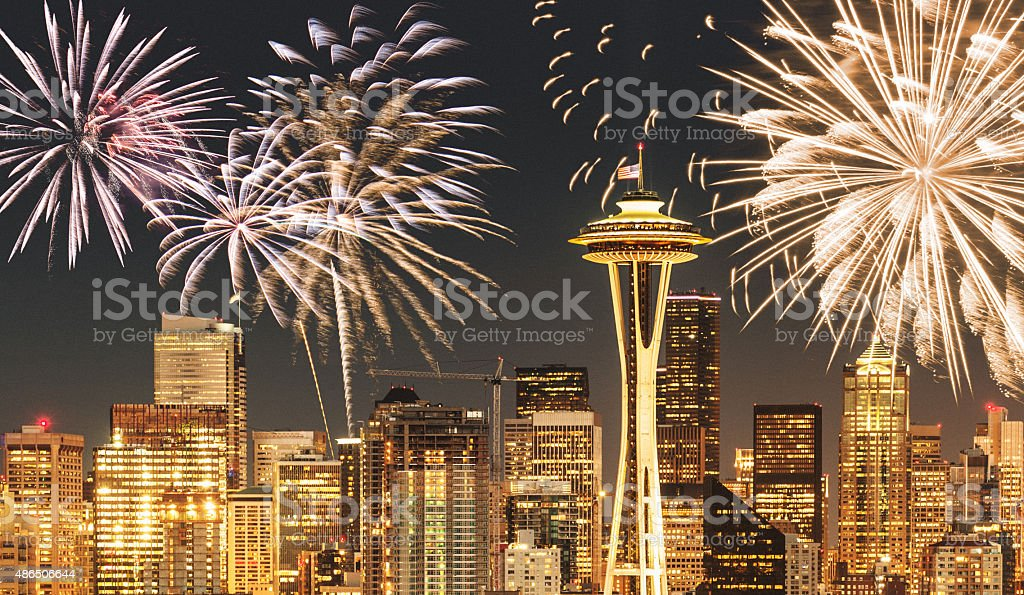 fireworks for a national holiday in Seattle stock photo