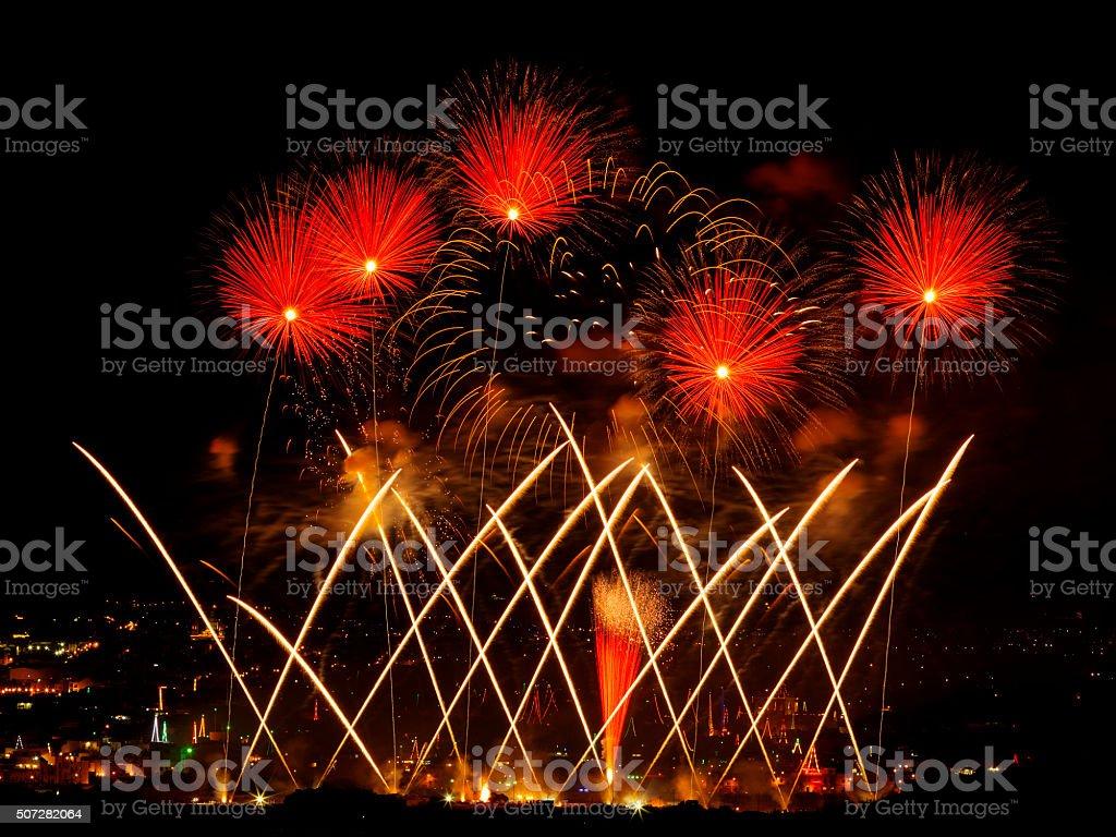 Fireworks for the feast of St Philip, Zebbug, Malta stock photo