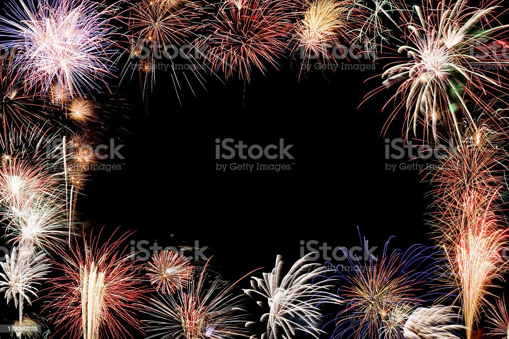 Fireworks frame for a holiday card message royalty-free stock photo