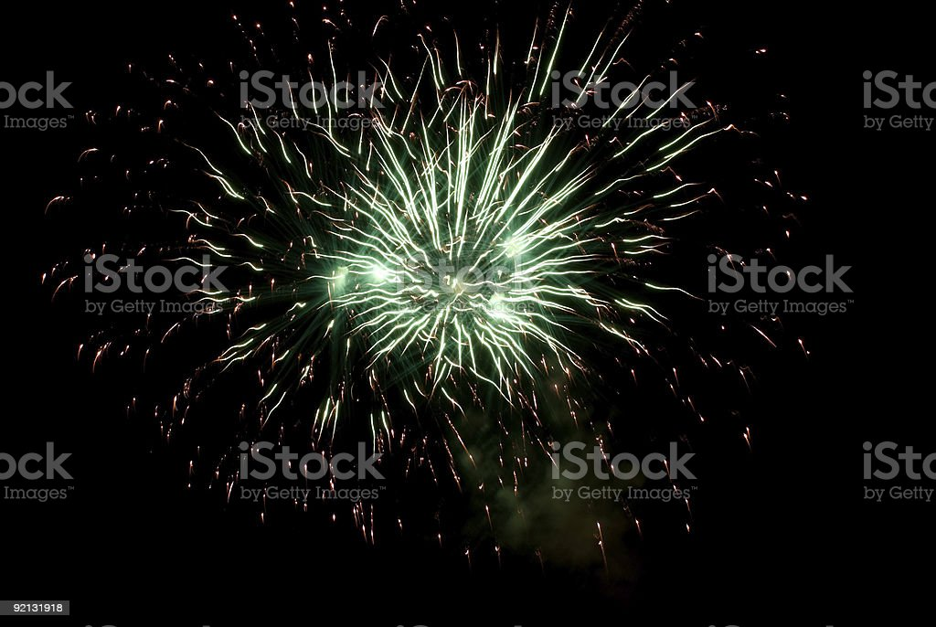 Fireworks green stock photo