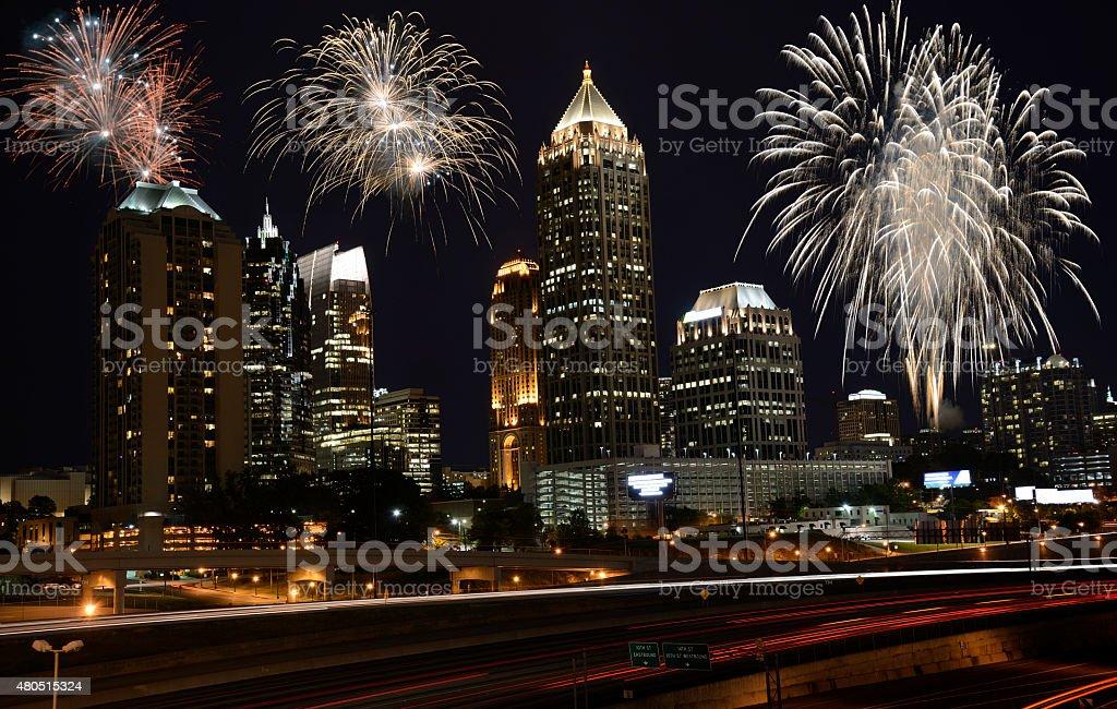 Fireworks in Atlanta,Georgia stock photo