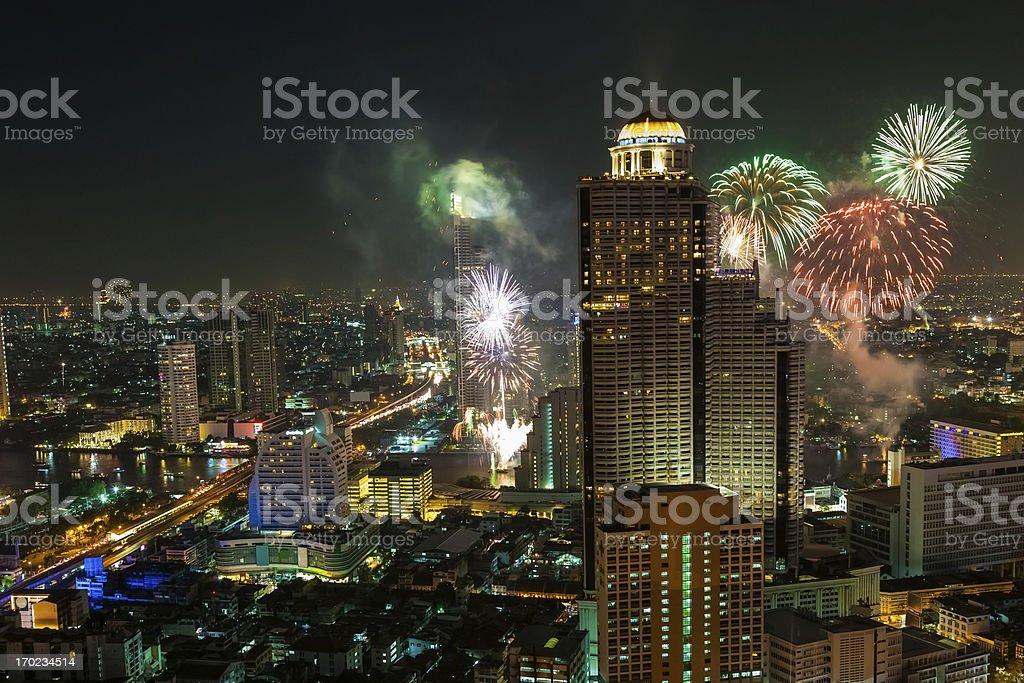 Fireworks in Bangkok cityscape stock photo