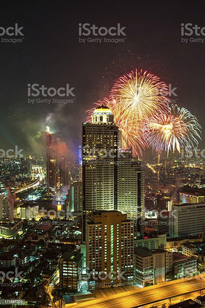 Fireworks in Bangkok skyline stock photo