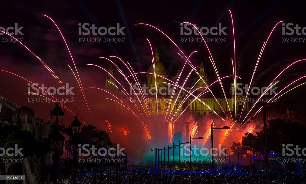 Fireworks in Barcelona stock photo