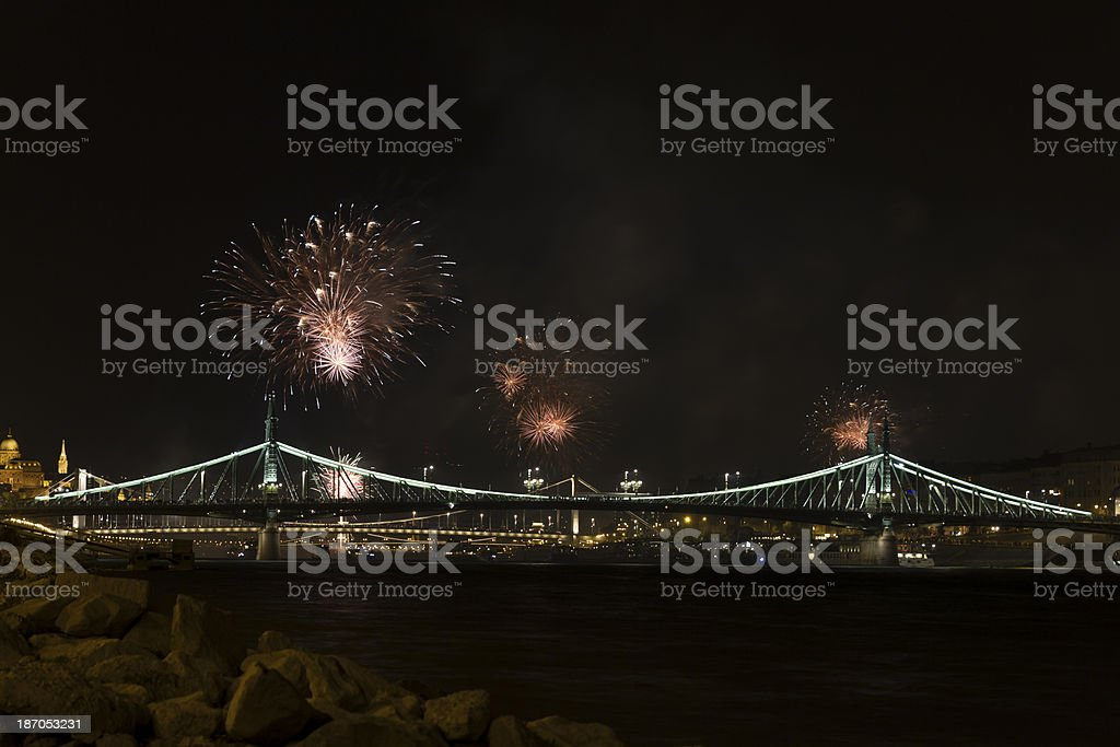 Fireworks in Budapest royalty-free stock photo