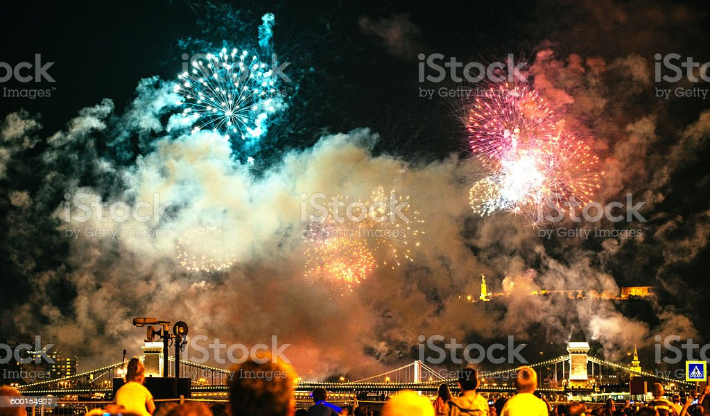 Fireworks in city at night stock photo