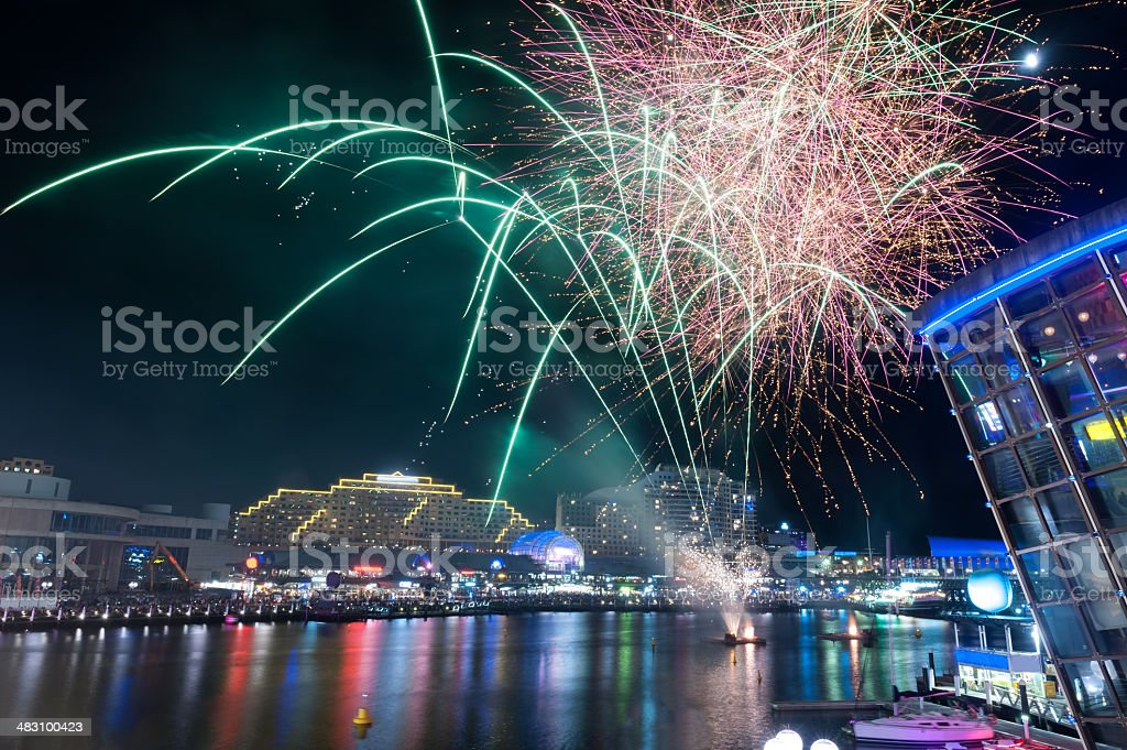 Fireworks in darling harbour stock photo