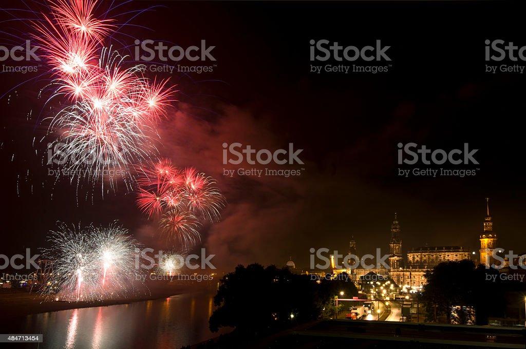 Fireworks in Dresden stock photo