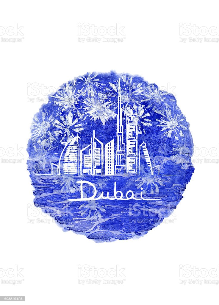 Fireworks in Dubai city stock photo