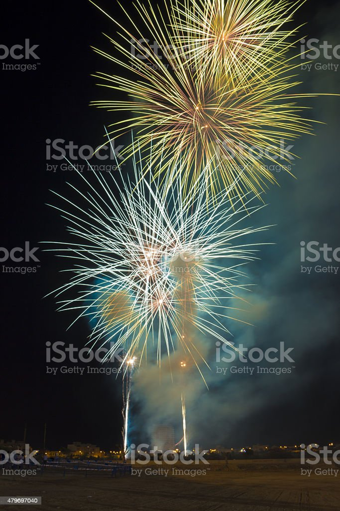 Fireworks in El Ejido (Almer?a, Spain) stock photo