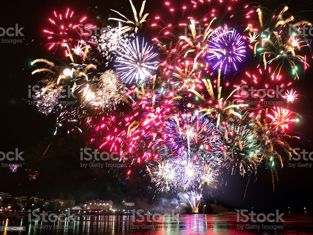 Fireworks in Finland stock photo