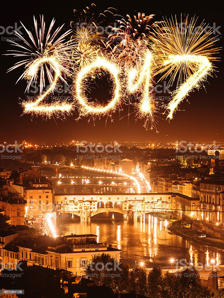 Fireworks in florence over ponte vecchio stock photo