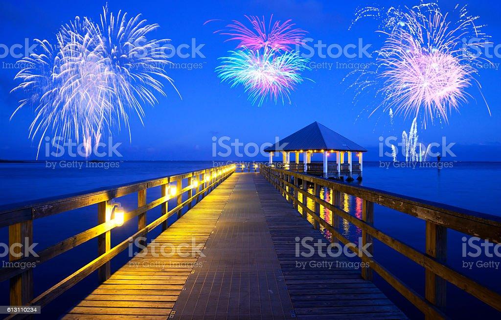 Fireworks in Florida stock photo