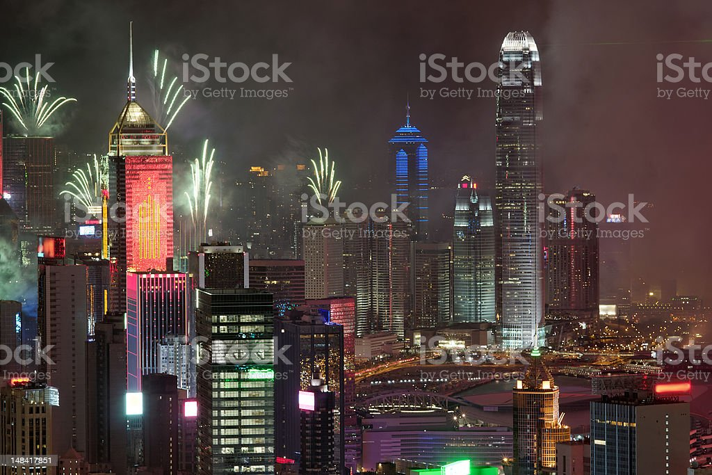 Fireworks in Hong Kong for reunification day 1 July 2012 stock photo
