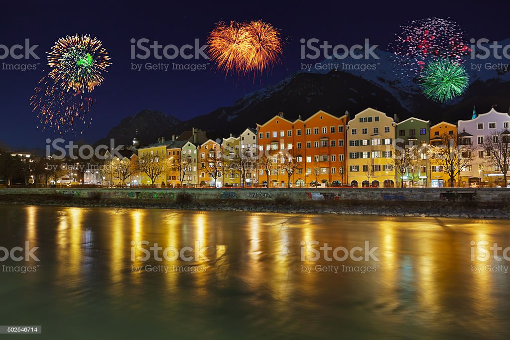 Fireworks in Innsbruck Austria stock photo
