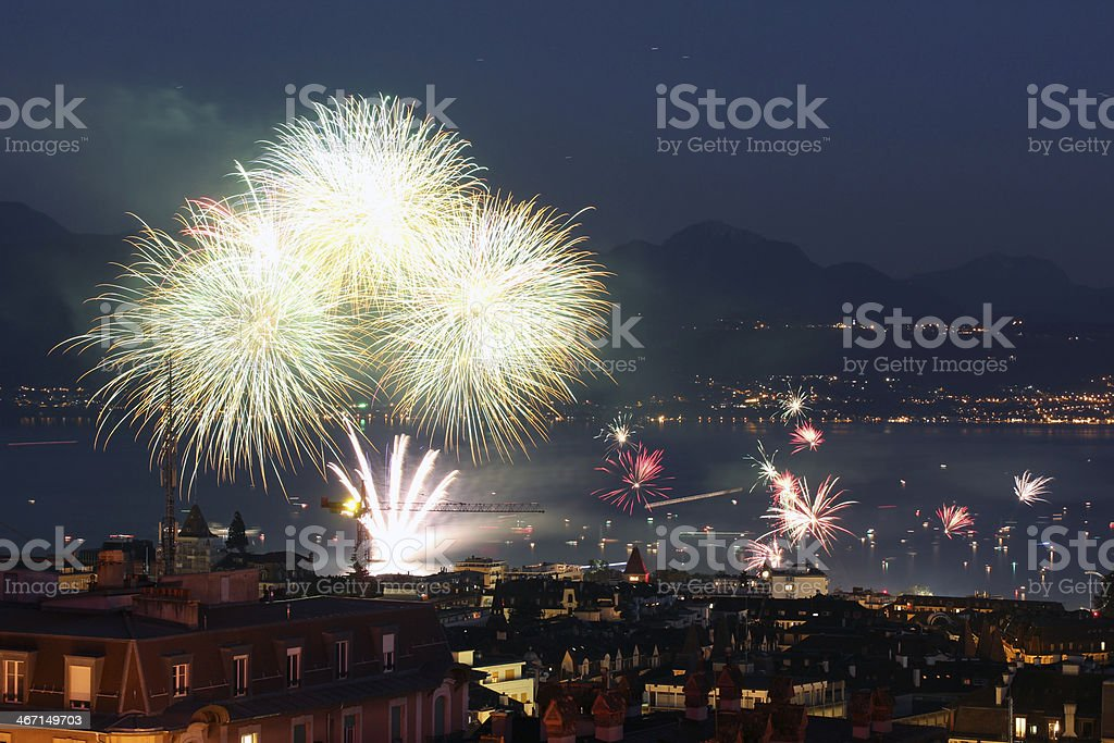 Fireworks in Lausanne, Switzerland royalty-free stock photo