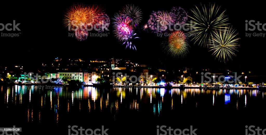 Fireworks in  Makarska stock photo