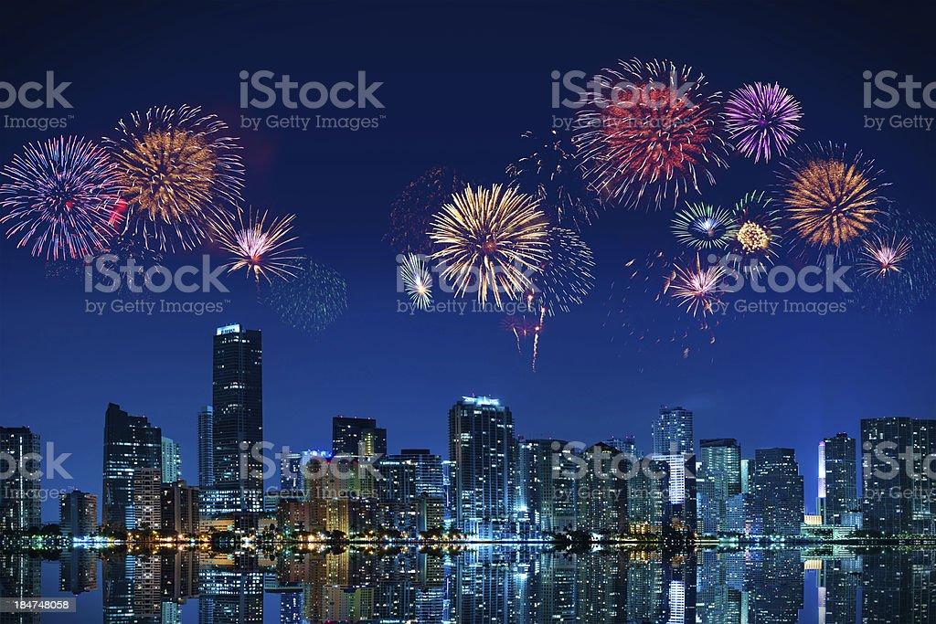 Fireworks in Miami royalty-free stock photo