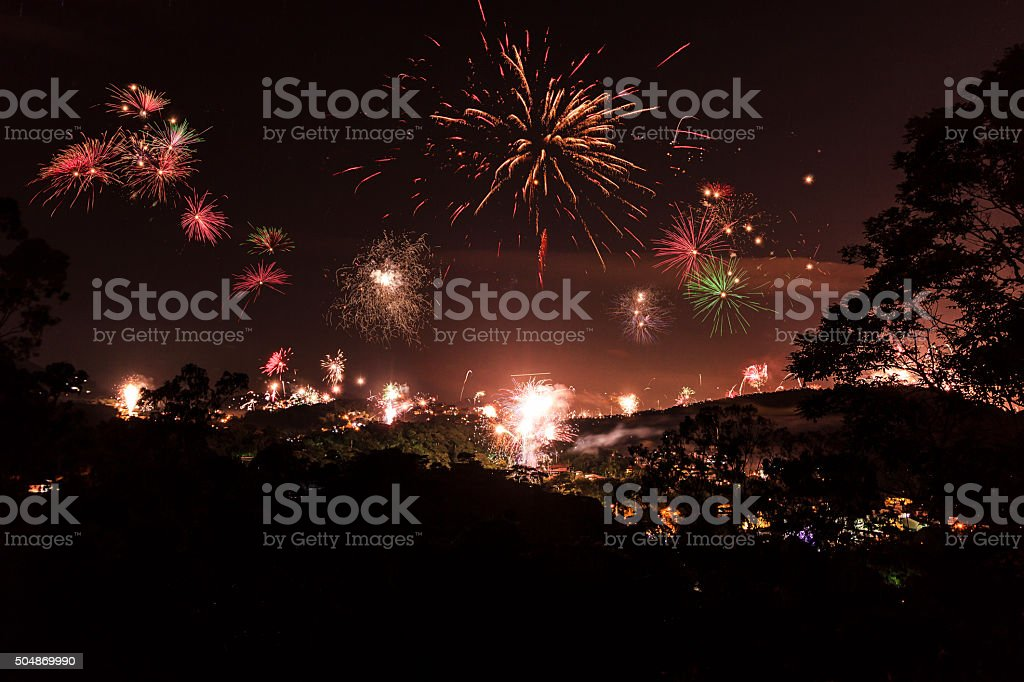 Fireworks in New Years's Day stock photo