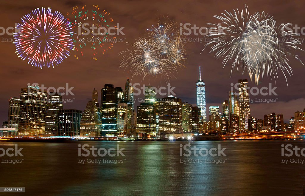 Fireworks in New York City stock photo