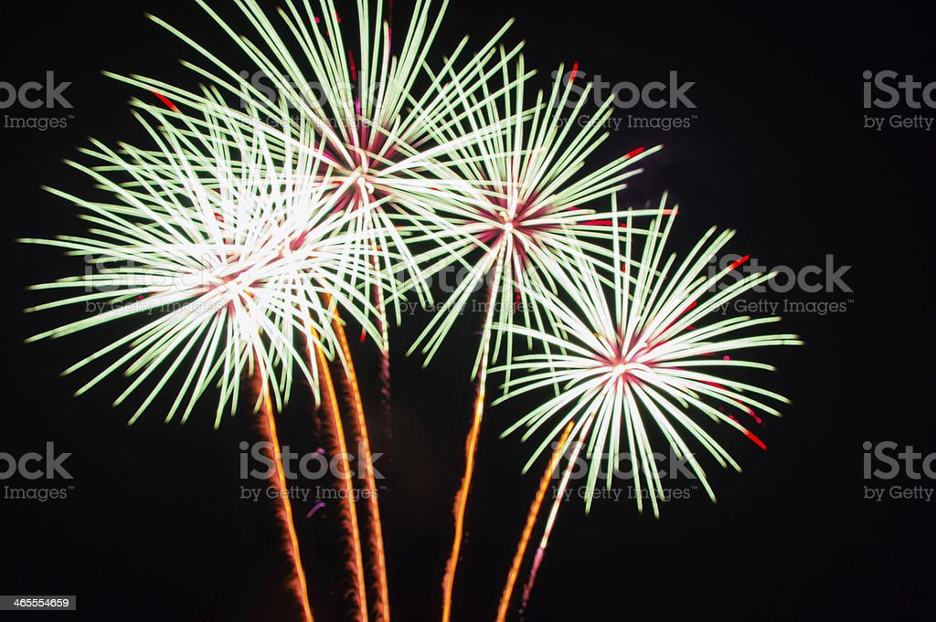 fireworks in night stock photo
