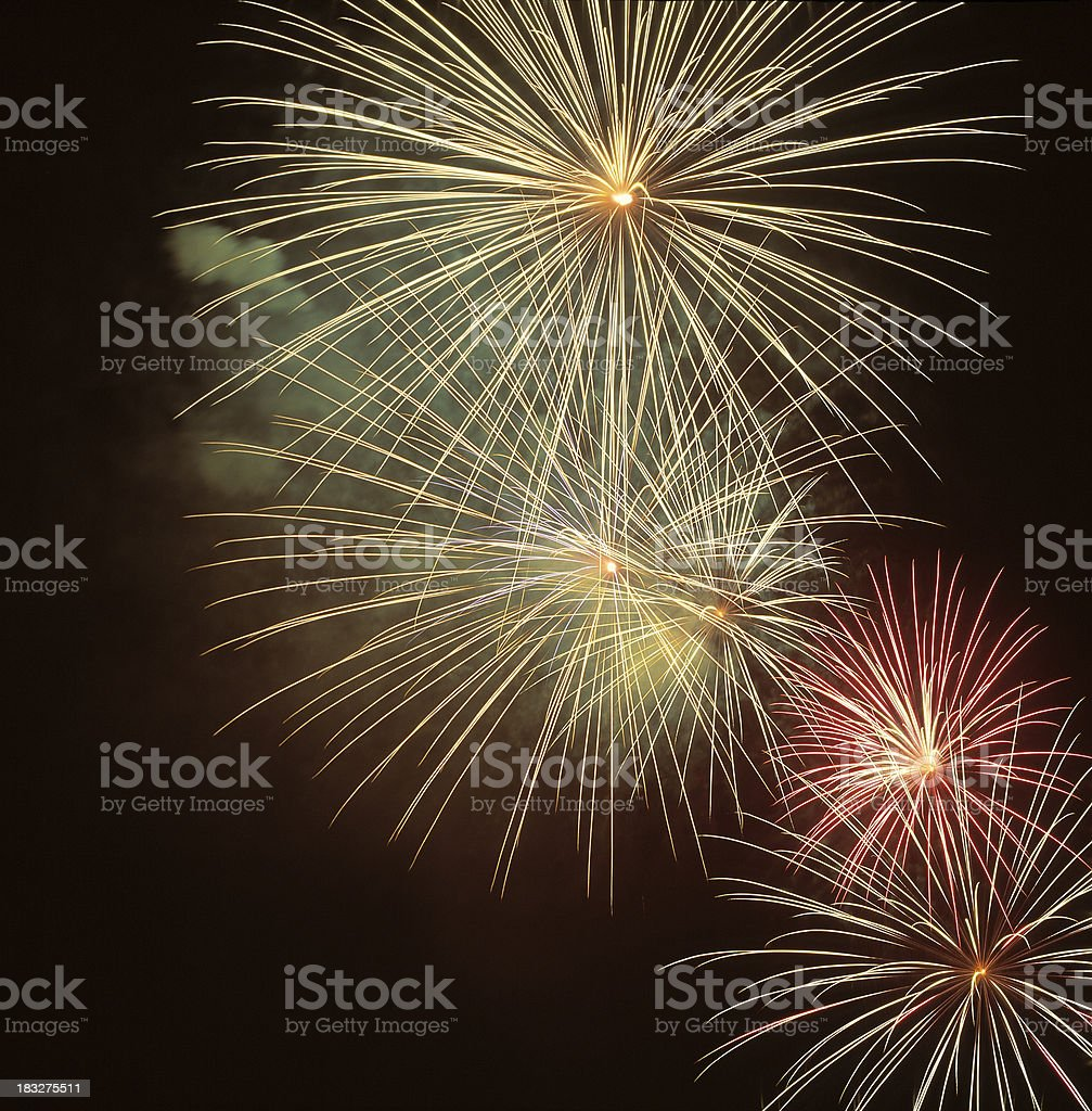 Fireworks in night sky royalty-free stock photo