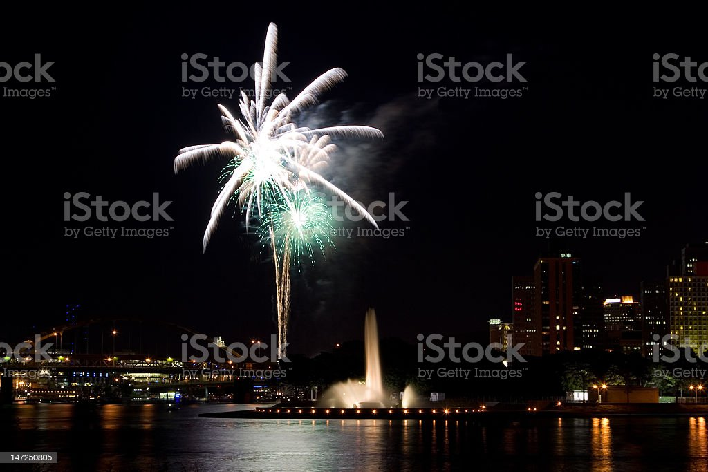 Fireworks in Pittsburgh royalty-free stock photo