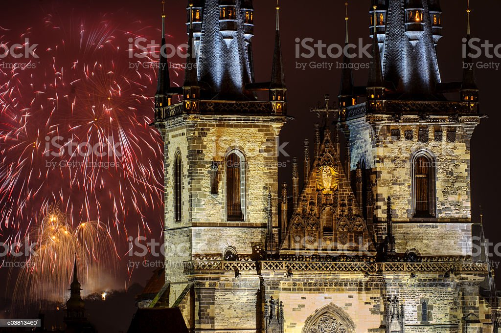 Fireworks in Prague behind Church of Our Lady before Tyn stock photo